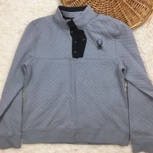 Men's spyder quilted pullover sweater gray